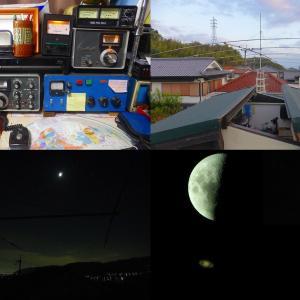 無線アンテナ整備+上弦の月、木星土星火星