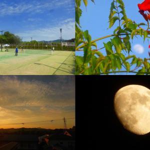 夏至に 月一1484テニス 夏至の空など記録