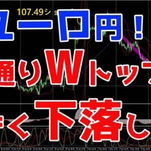 ユーロ円!予想通りWトップで大きく下落したね♪