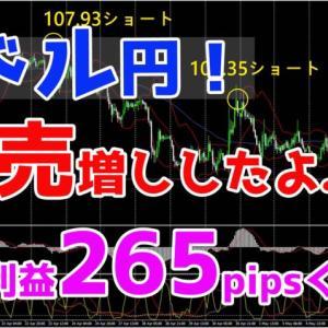 ドル円!売増ししたよ♪今の利益265pipsくらい♪