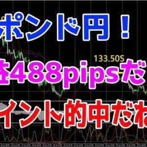 ポンド円!利益488pipsだよ♪ポイント的中だね!