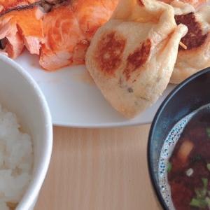 焼鮭と納豆巾着