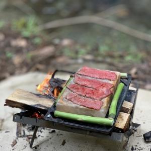 ソロキャンの醍醐味!【岩塩プレート】で初めて肉を焼いてみる
