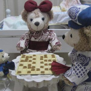 将棋対戦!封じ手をしたよ。ダッピー対ブルーくんの勝利の行方とhappyの種みーつけた