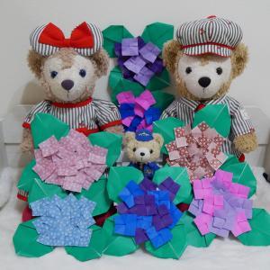 折り紙で紫陽花を作ったよ✨✨折り方付