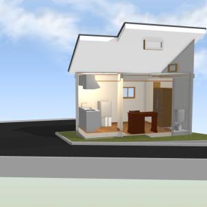 玉川上水沿いの小屋の平面図(プラン2)
