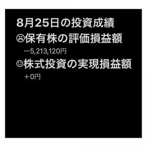 #2021年8月25日 #保有株 の#評価損益額 。