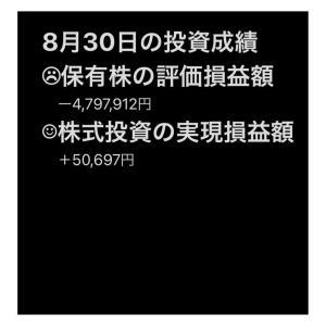 #2021年8月30日 #保有株 の#評価損益額 。#株式投資 の#実現評価額 。