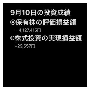 #2021年9月10日 #保有株 の#評価損益額 。#株式投資 の#実現損益額 。