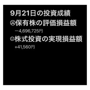 #2021年9月21日 #保有株 の#評価損益額 。#株式投資 の#実現損益額 。