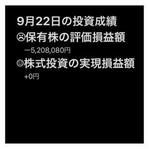 #2021年9月22日 #保有株 の#評価損益額 。#株式投資 の#実現損益額。