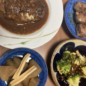 冷凍しておいた鯖の味噌煮で晩ご飯