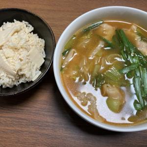 キムチ鍋のリメイク えびワンタンスープ ランチ