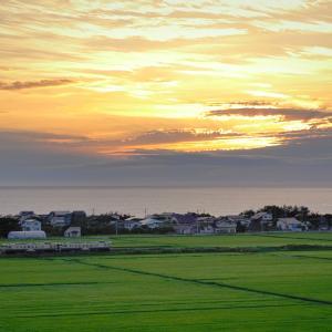 盛夏の五能線撮影(7):夕空と海を背に,能代平野をゆくキハ40。
