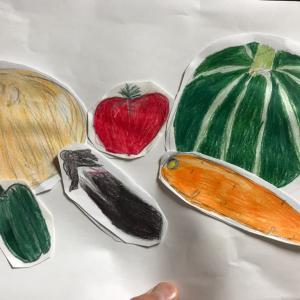 下の娘の色鉛筆画「春野菜」