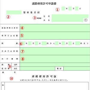 道路使用許可申請書のダウンロードと記入例。見取図、補足資料について