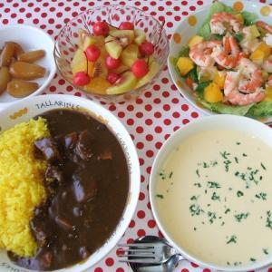 ビーフカレーと海老の蒸しサラダ