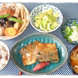 鯖の味噌煮とセロリとアボカドのわさび醤油和え
