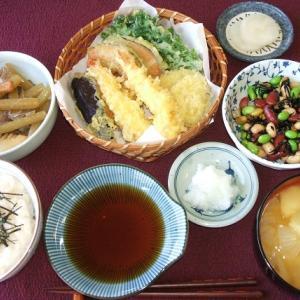 天ぷらとフキの煮物