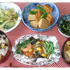 牡蠣と海老の味噌ホイル焼き