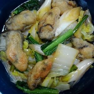 牡蠣と白菜のオイスターソース炒め煮と呉汁