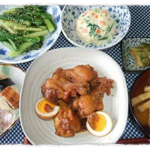 鶏手羽元の梅煮とウナギの握り