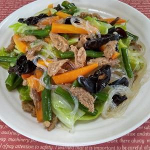 塩だれ春雨とカレー味の麻婆豆腐