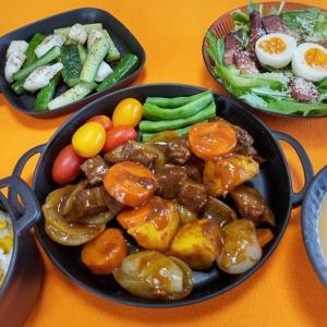 牛肉の煮込みと水菜とベーコンのサラダ