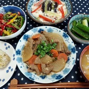 モツの煮込みと蒸し茄子と豆腐のとろみ煮