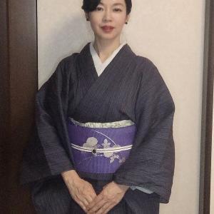 麻の着物と絽名古屋帯コーデ