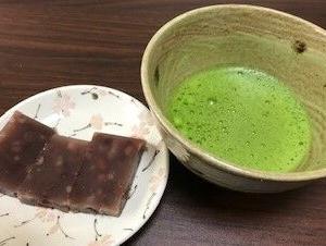 抹茶と手作り水ようかん