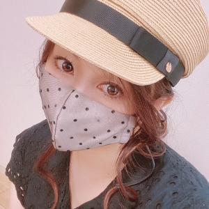 大人可愛いドットチュールのリボンマスク♡