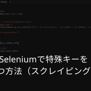 Seleniumで特殊キーを 打つ方法(スクレイピング)