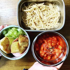 菜食のレシピ🥬 給食弁当『トマトパスタ給食』を菜食で作ってみた🍝パパが作る簡単・ヘルシー・環境に優しいお弁当🍱