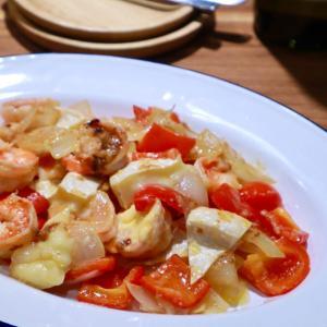 【レシピ】海老とパプリカのカマンベールマヨ炒め