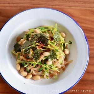 【レシピ】しらたきと豆苗のヘルシーサラダ