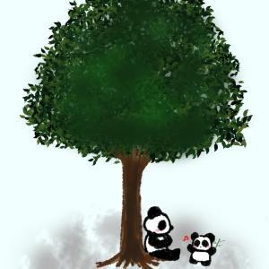 【イラスト】大きな木の下で