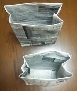 新聞紙で作ったゴミ袋(みんなでSDGs)