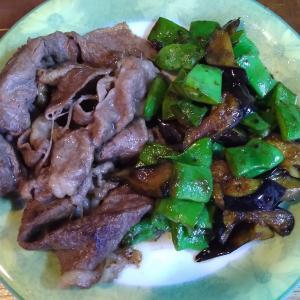 なすとモロッコインゲンの炒め物と焼き肉