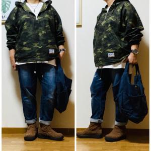 迷彩柄のフードジャケットで大人カジュアルメンズなコーデ^_^