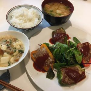 晩ご飯の献立(24)ピーマンの肉詰めと長芋なめこぽん酢和え