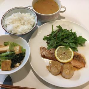晩ご飯の献立(26)サーモンと帆立のバター醤油ソテー