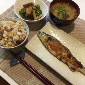 晩ご飯の献立(29)鮎の梅みそマヨ焼きと残り物炒め
