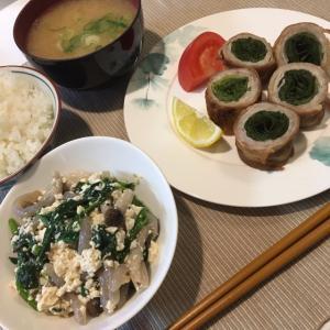 晩ご飯の献立(34)レタスの豚肉巻き(レシピ)とほうれん草の白和え