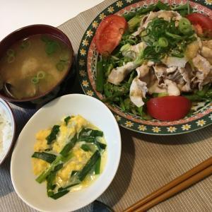 晩ご飯の献立(40)冷しゃぶサラダとニラとしらすの卵とじ