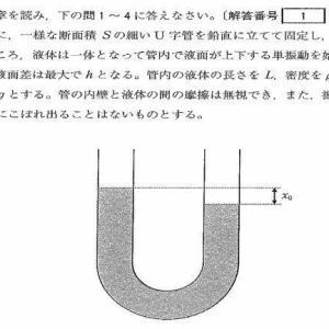 独協医科大学医学部2016年度 物理入試問題4.U字管の液体の単振動 問題