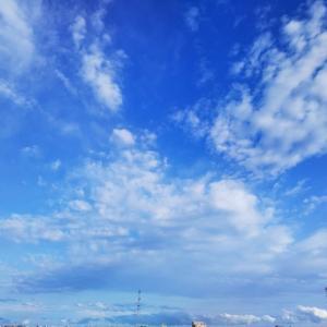 青い空の下で妻子を待つ