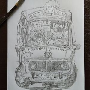 鳥山明先生の車イラスト、シャーペン、鉛筆描き。
