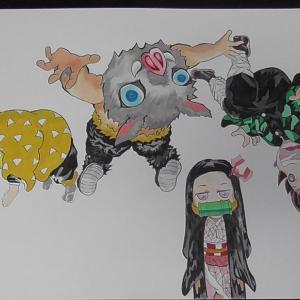 鬼滅の刃の4人をミニキャラで描いたみました。コピックイラスト。