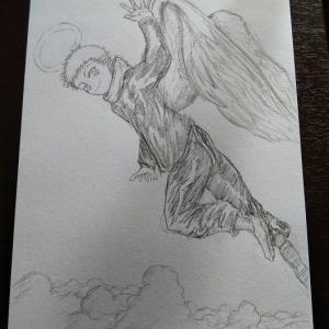 ドラゴンボールの悟空天使を元に天使の虎杖くん描いてみました。